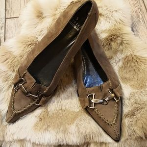 Shoes - Stuart Weitzman olive green suede pointy heels